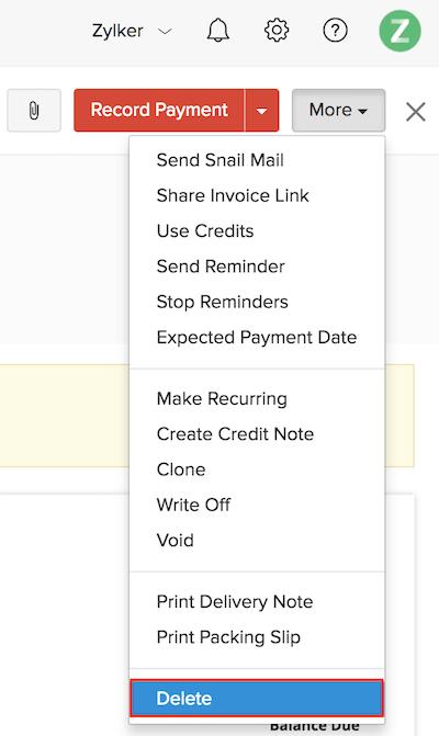 Delete an invoice