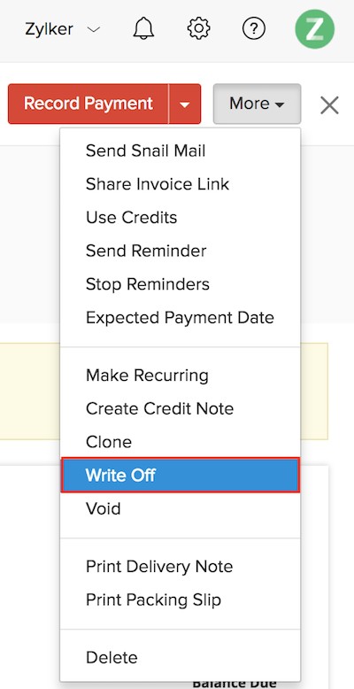 managing invoices help document zoho invoice