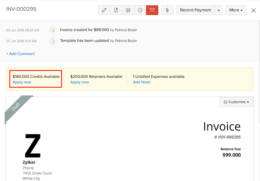 online and offline payments apply credits to invoices help zoho