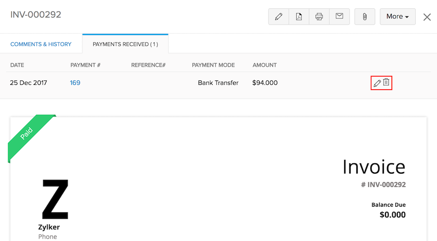 Payments Received - Hover options