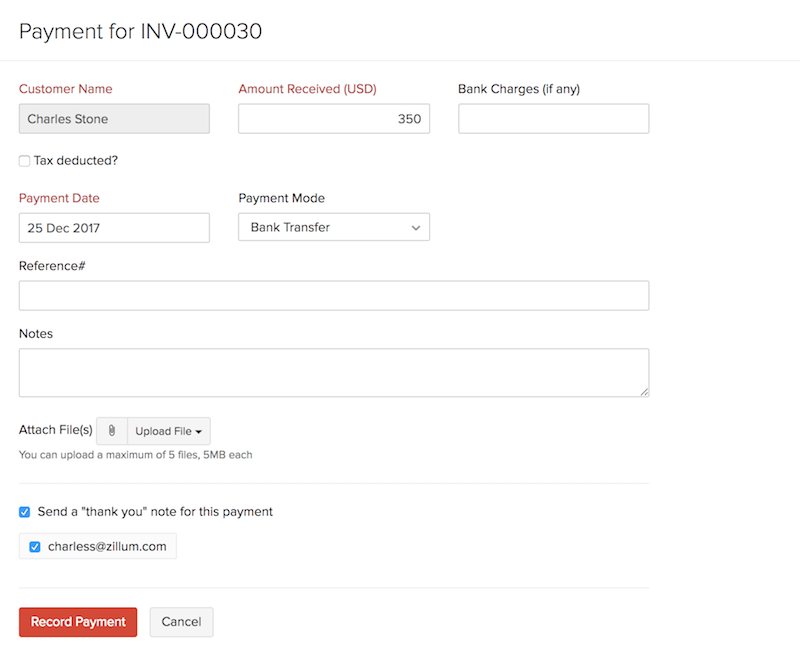 Record Payment for invoice page