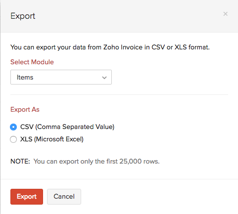 Import & Export | Items | User Guide | Zoho Invoice
