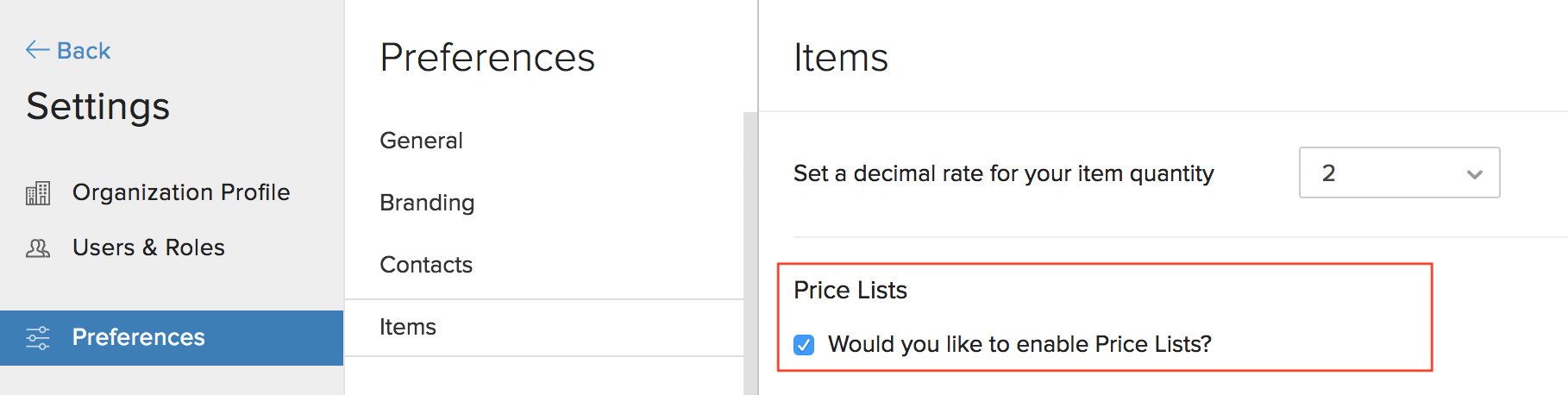 Enable or Disable Price Lists