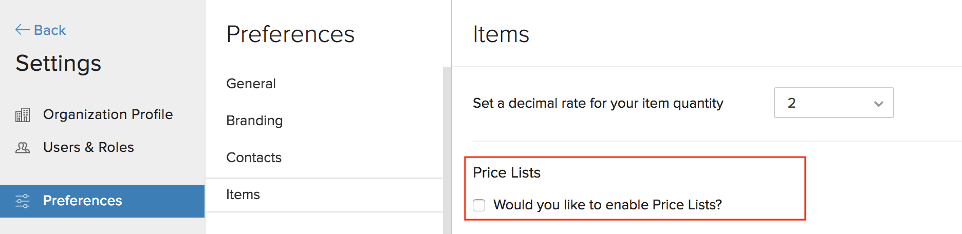 Disable Price List Image