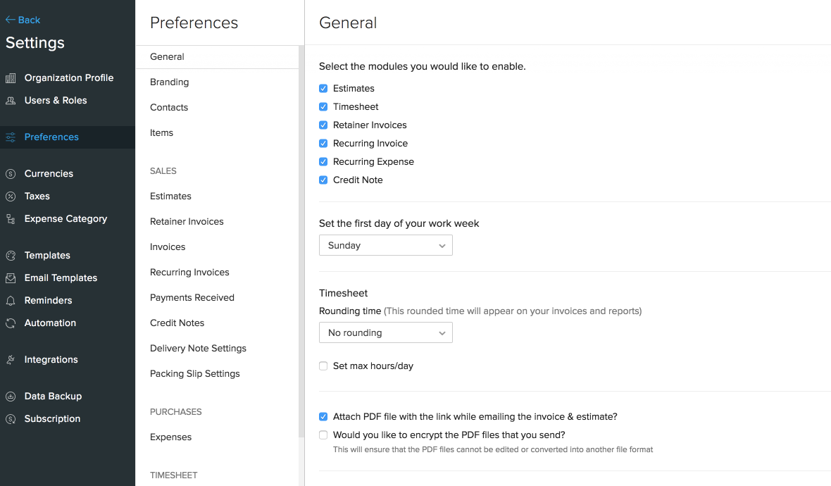 Enable Preferences