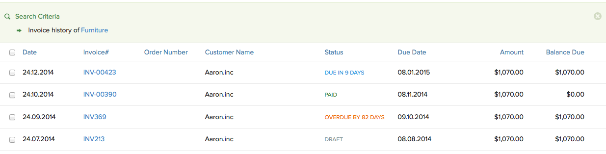 Recurring Invoice history