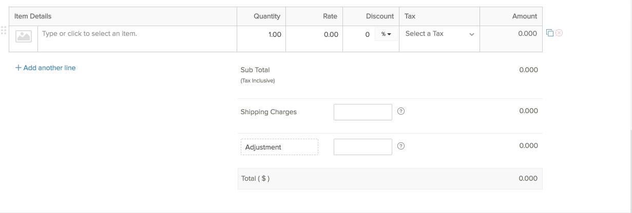 Recurring Invoice Item Details