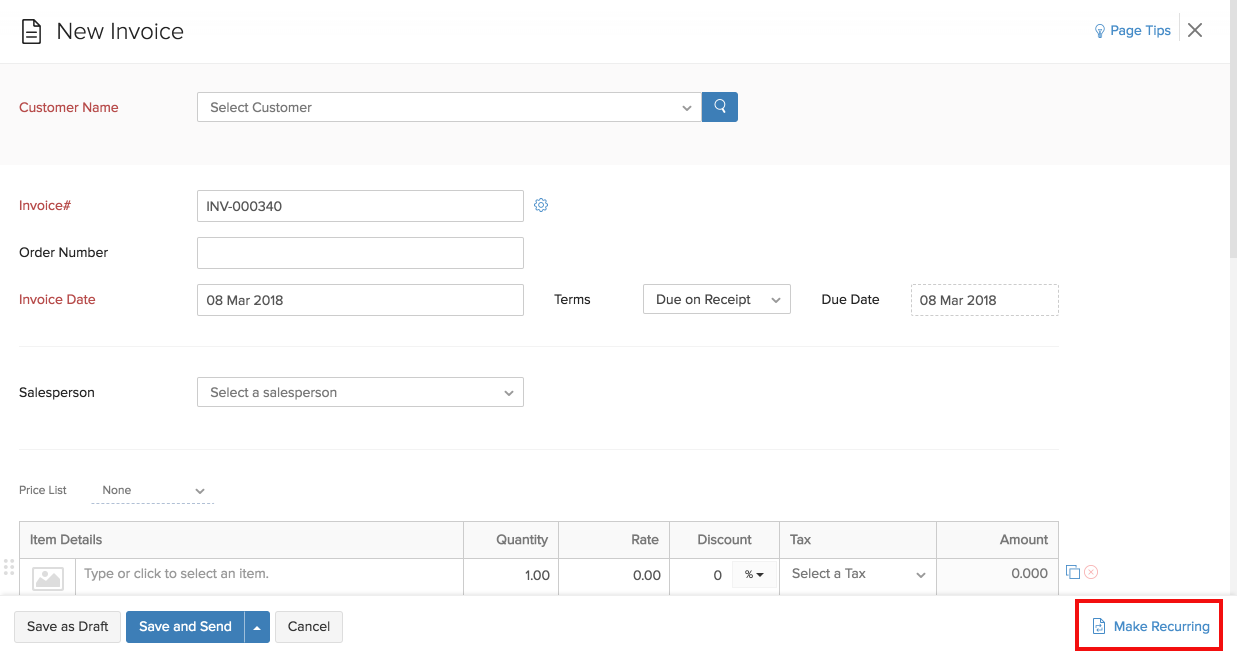 New Recurring Invoice form