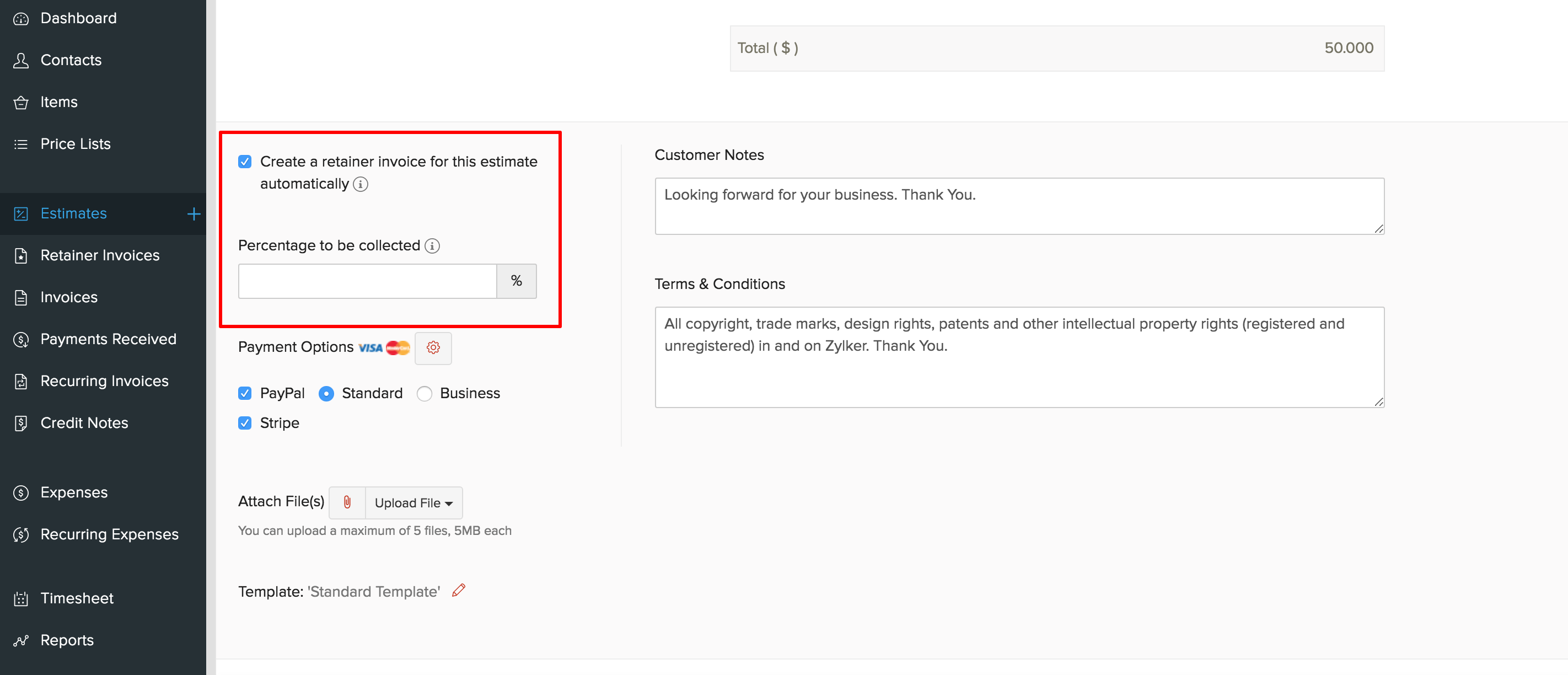 create retainer invoices from estimates help zoho invoice
