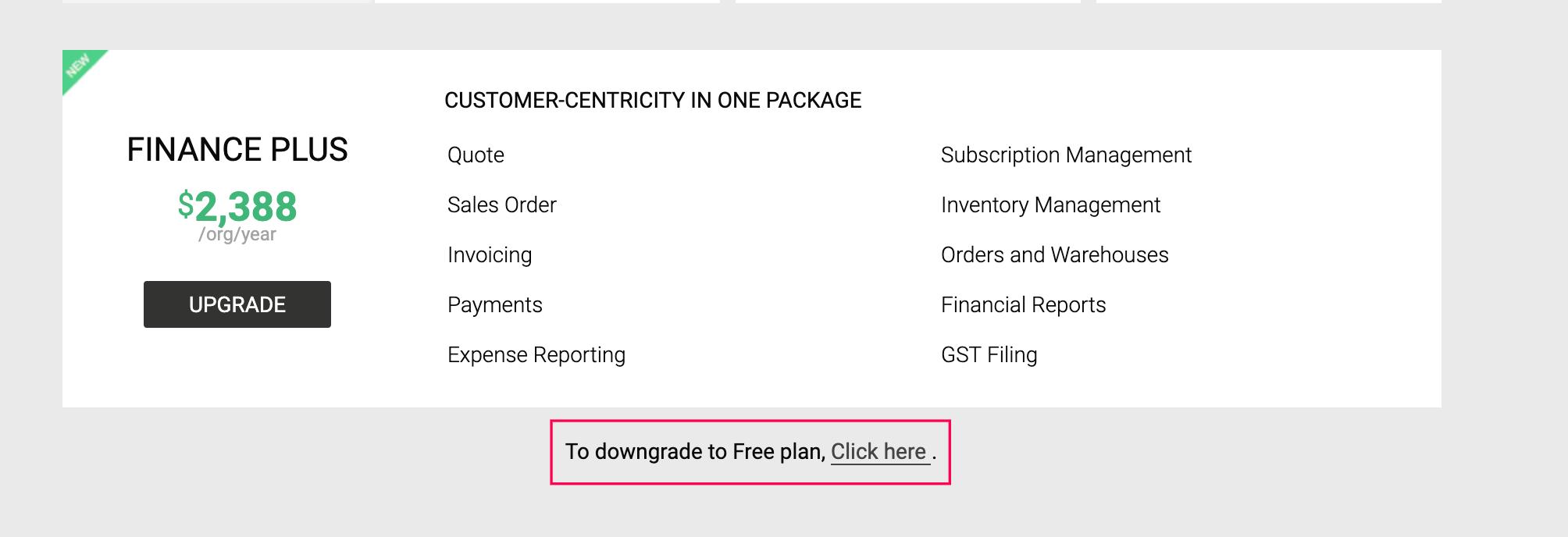 Dowgrade to free plan
