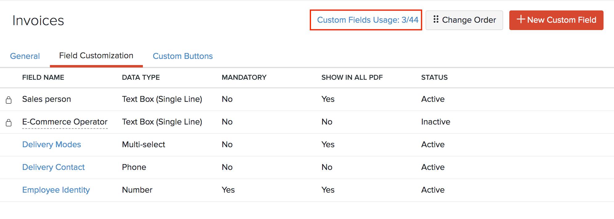 Custom Field Usage