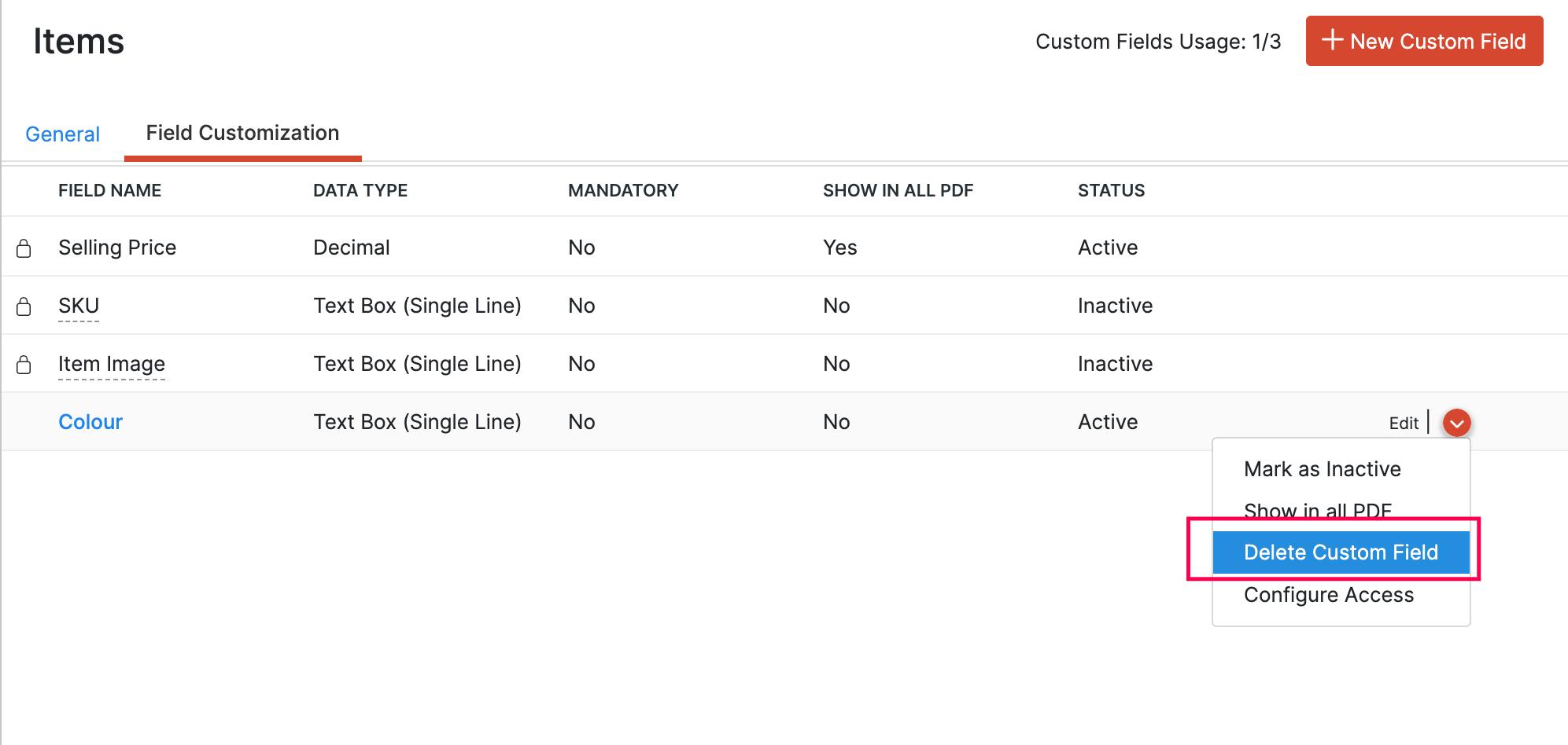 Delete Custom Field