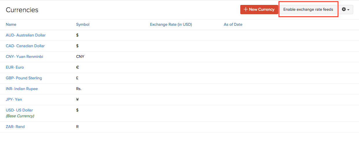 Enable exchange rate feeds