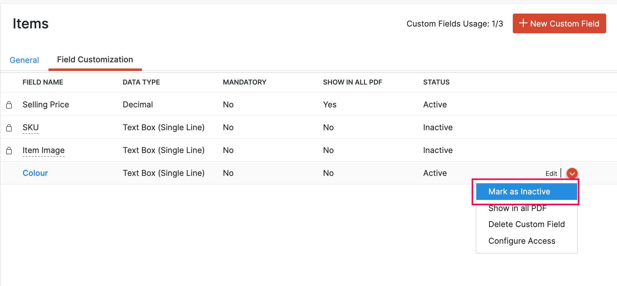 Mark Custom Field as Inactive