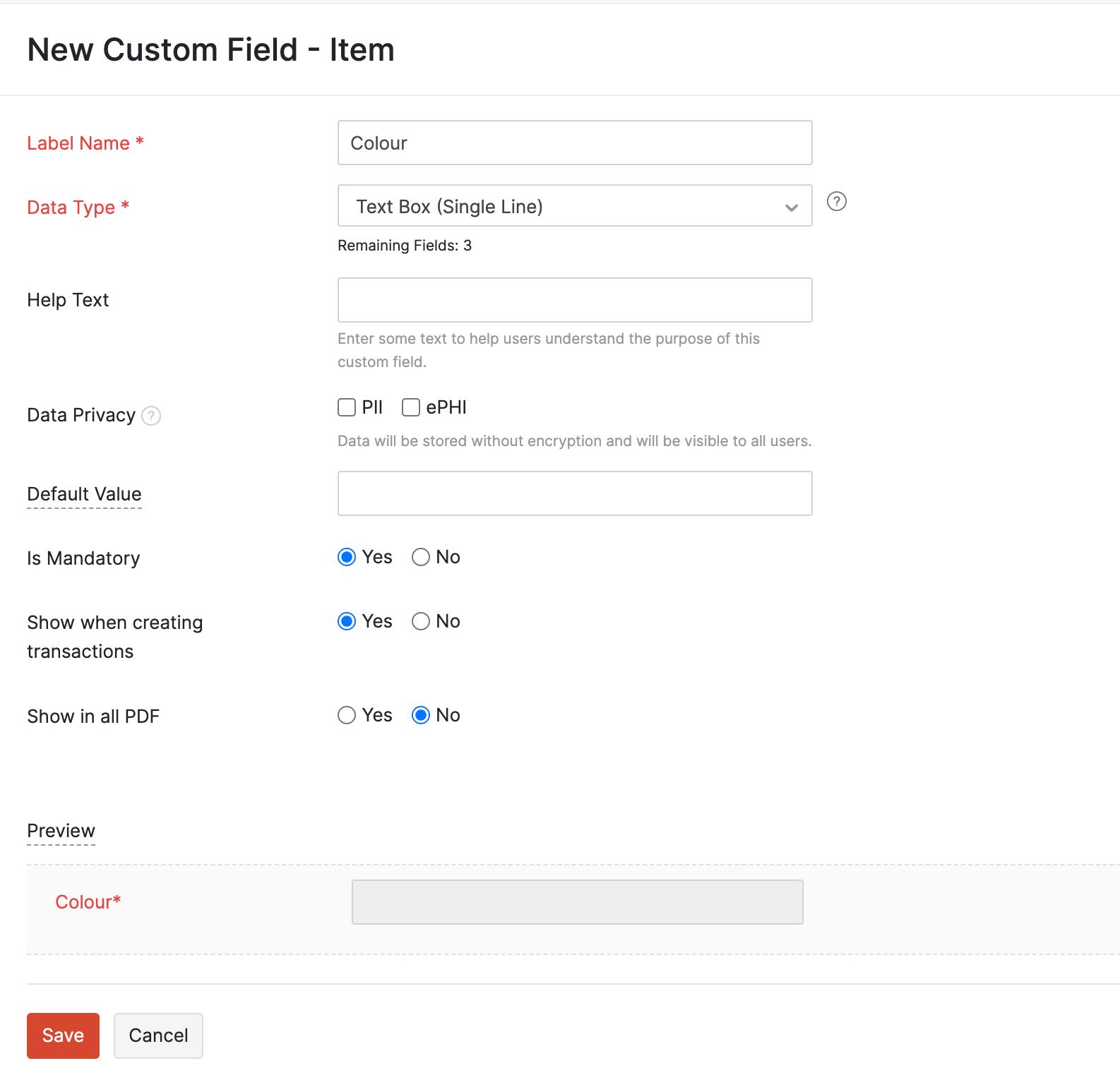 New Custom Field
