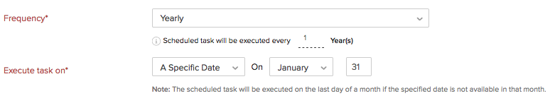 Execute Yearly