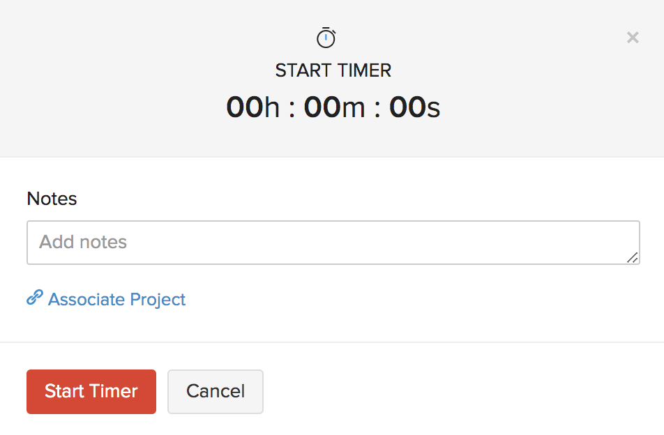 Timesheet start timer without project