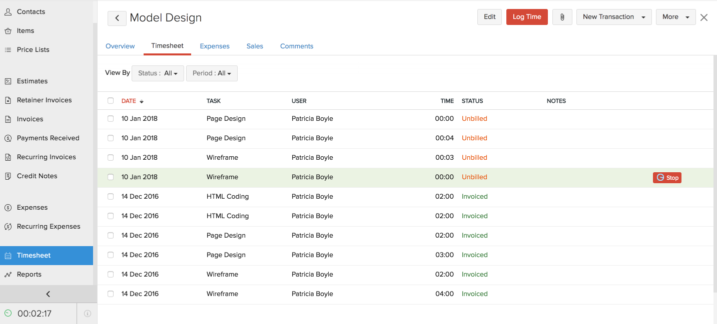 log time for projects recording time help zoho invoice