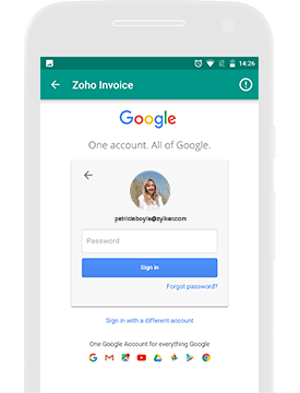 Payment For Invoice Online Invoicing App  Android App  Zoho Invoice Singapore Invoice Template Word with Print An Invoice Use Your Google Credentials To Log In To Your Zoho Invoice Account And  Effortlessly Speed Up The Signin Process Parking Invoice Excel