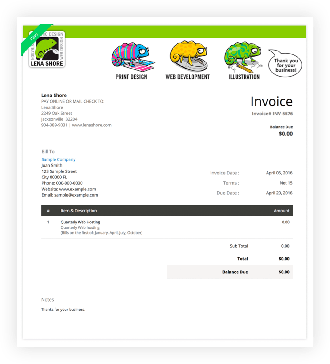 Lena's Business and Zoho Invoice
