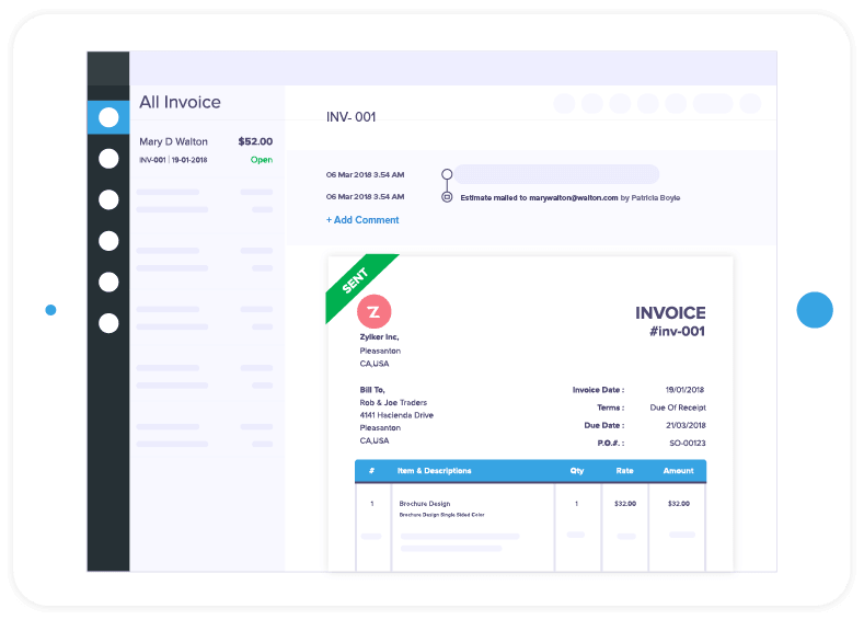 Invoice Software Online Invoicing For Small Businesses Zoho Invoice - Free creative invoice template cheap online stores