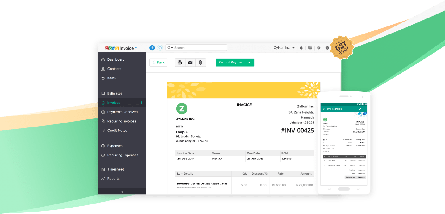 Zoho Invoice - Invoicing software dashboard