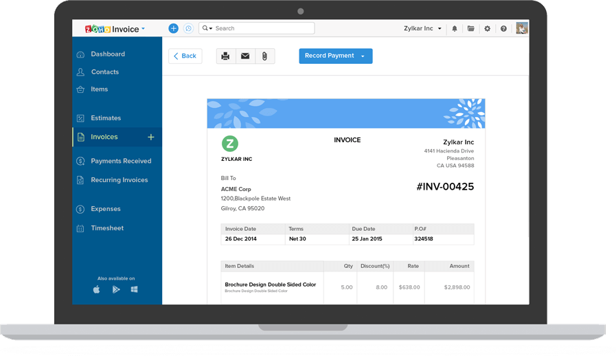 Online invoice software cloud invoicing system zoho for Zoho invoice download
