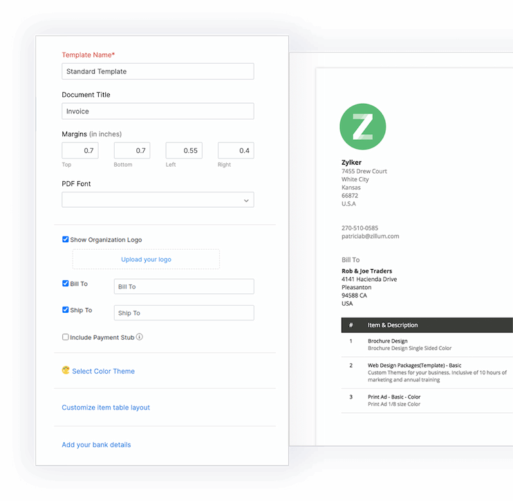 Add custom fields in invoice - Zoho Invoice