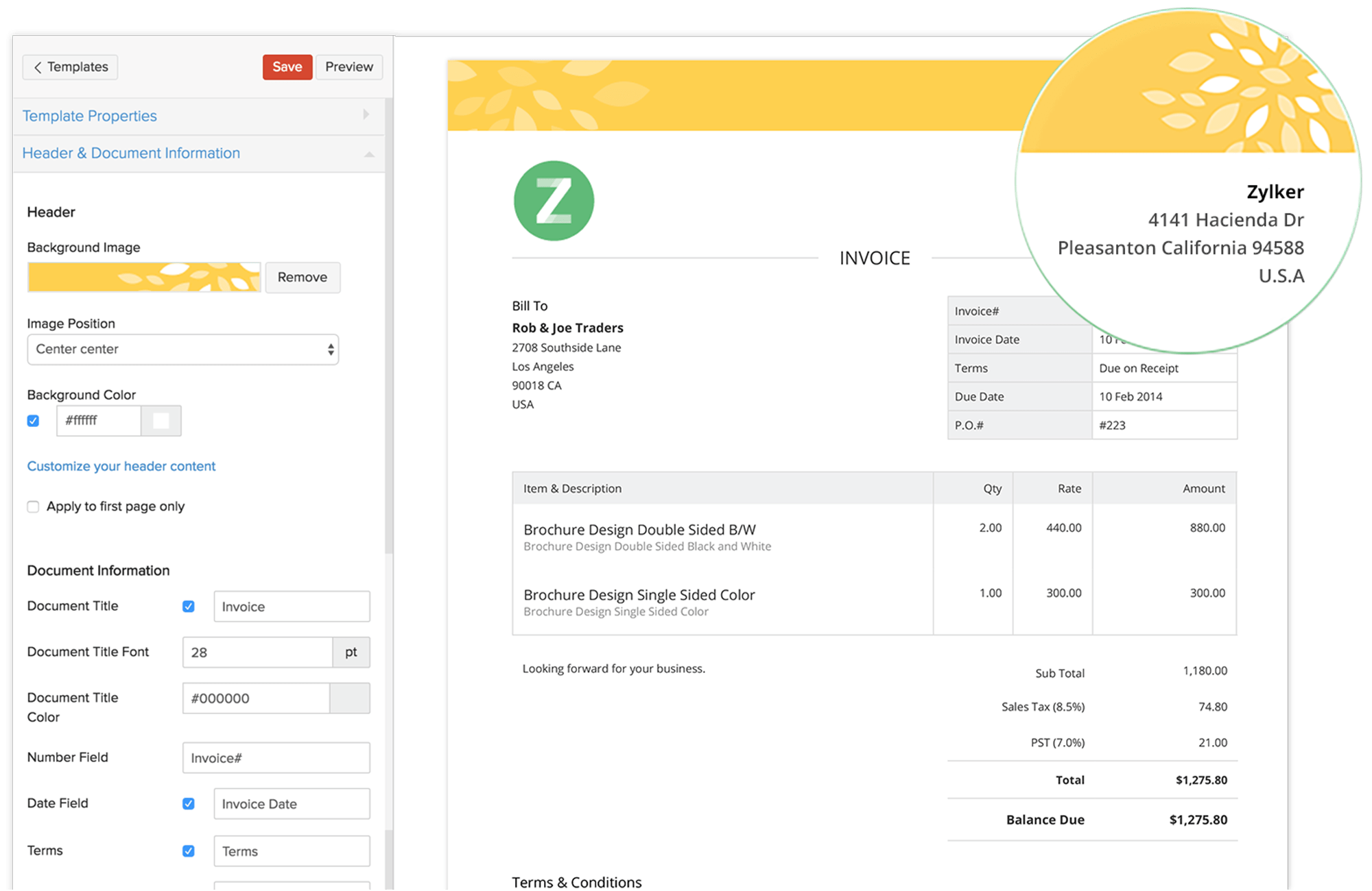invoice templates from zoho invoice.customise your invoices, Invoice examples
