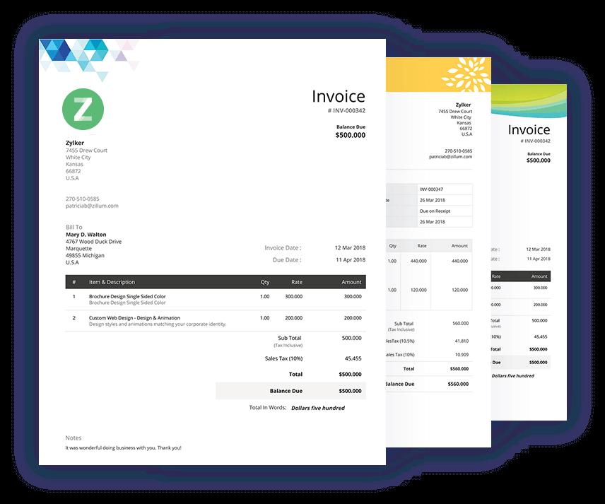 Invoice Template Free Invoice Templates Download Zoho Invoice