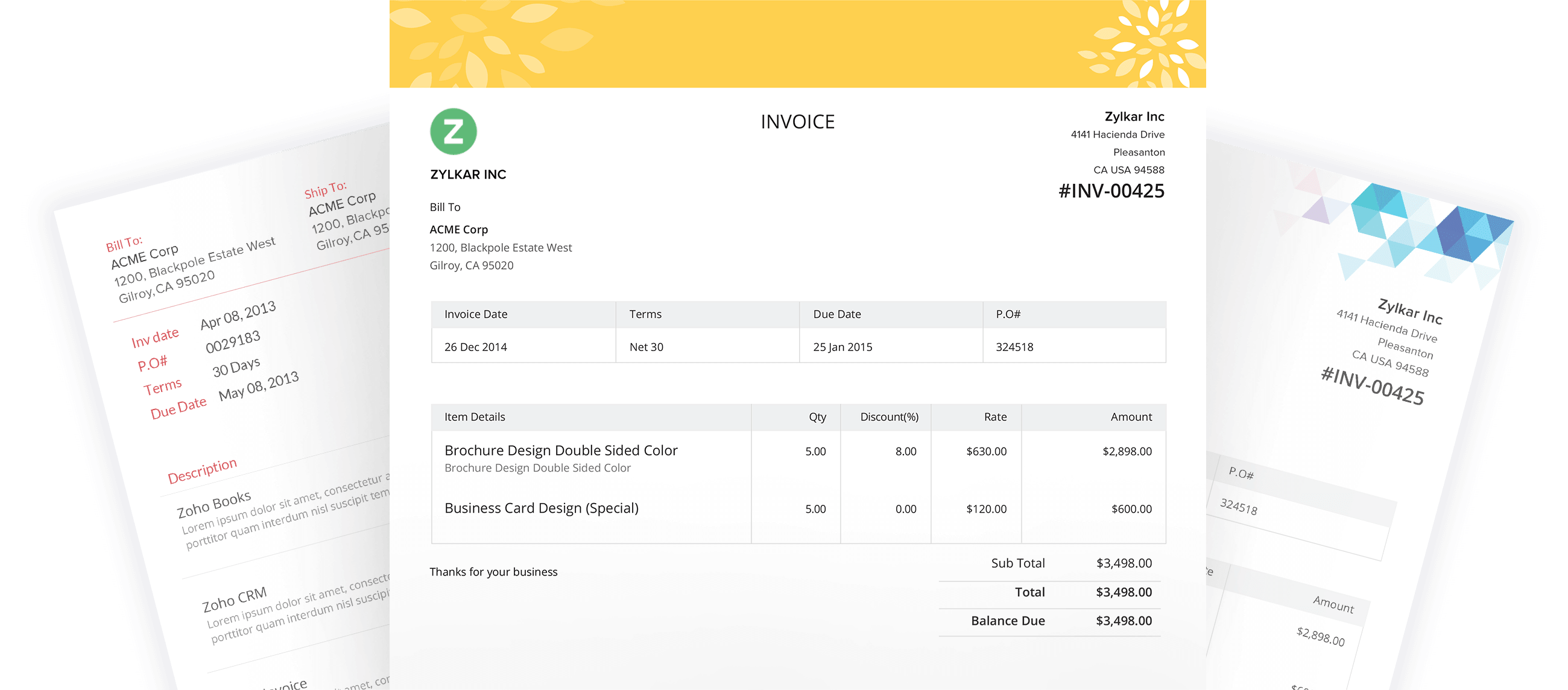 Invoice Templates From Zoho InvoiceCustomise Your Invoices - Template for an invoice