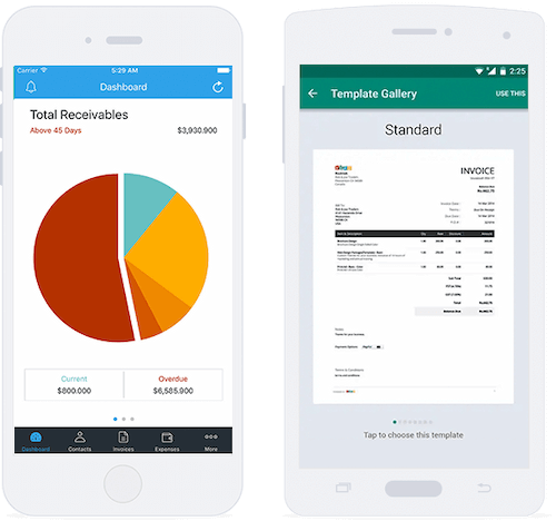 Mobile invoice templates