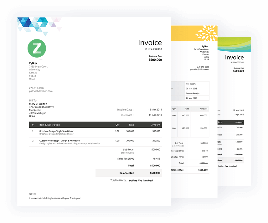 Free Invoice Templates Download Invoice Template Zoho Invoice - Invoices template