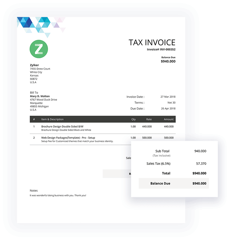 Tax Invoice Template | Free Invoice Templates Download Invoice Template Zoho Invoice
