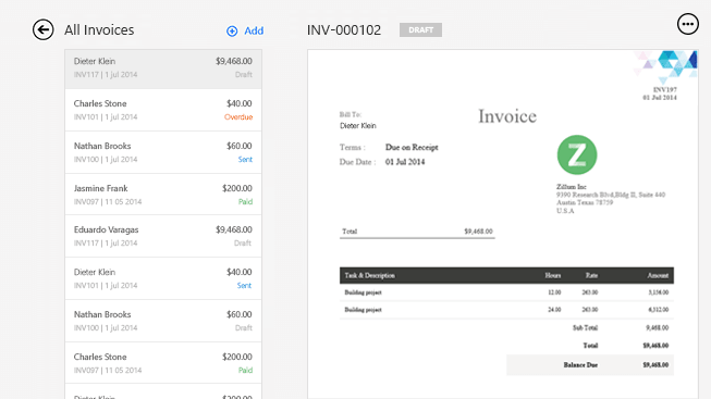 Zoho Invoice For Windows Surface - Invoice software windows