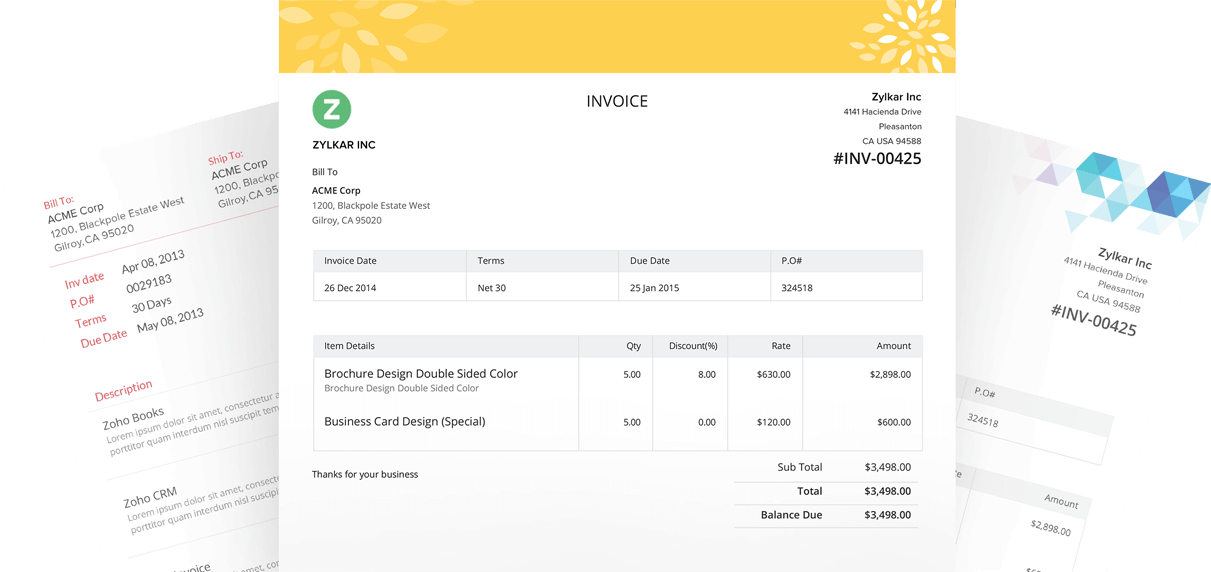 Customize templates|Zoho Invoice