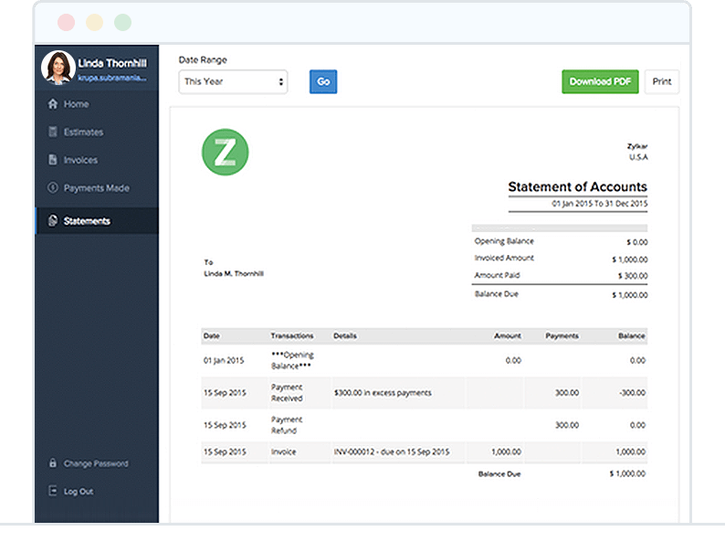 Share Customer Statement through Customer Portal - Zoho Invoice
