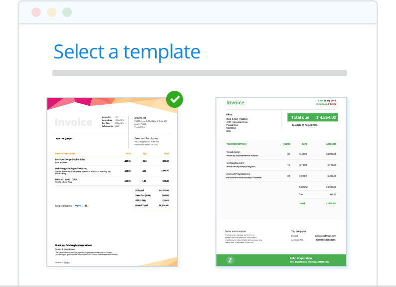 Brand Invoices with Templates - Zoho Invoice