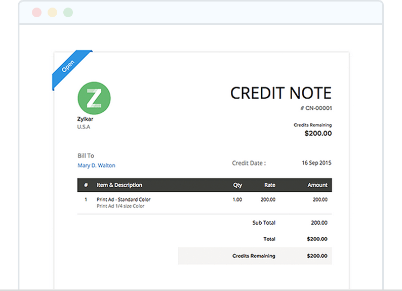 Use Credit Notes and Manage Credits and Refunds Easily - Zoho Invoice
