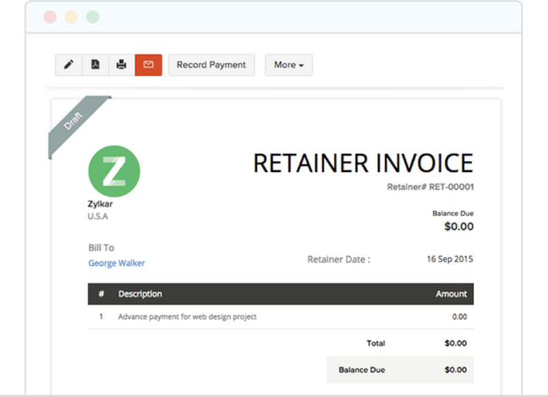 Collect Advance Payment with Retainer Invoice - Zoho Invoice
