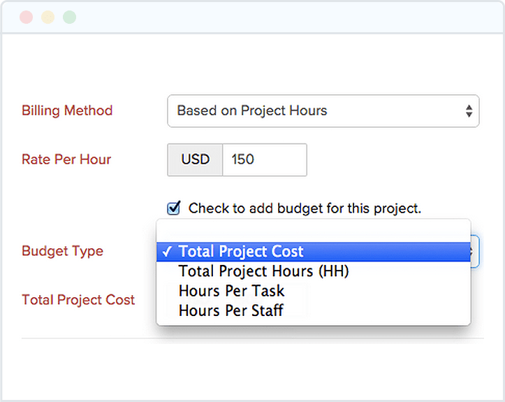 Set Budget for your Project - Zoho Invoice
