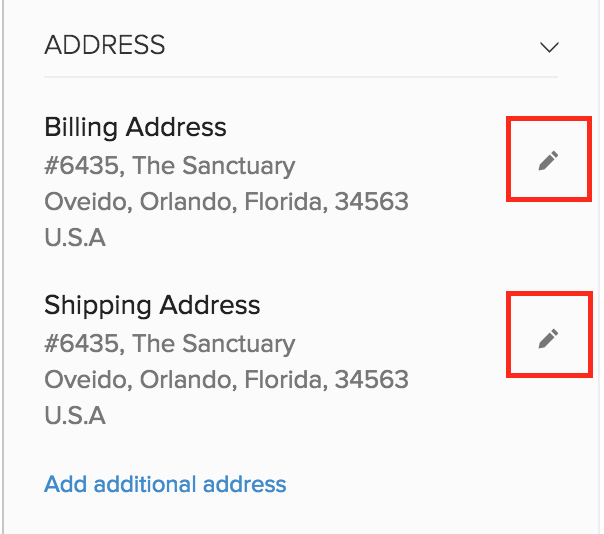 Edit Shipping/Billing Address