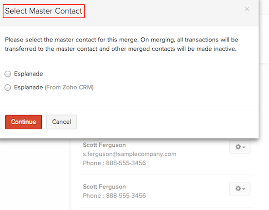 The remaining contacts apart from master contact will be rendered inactive