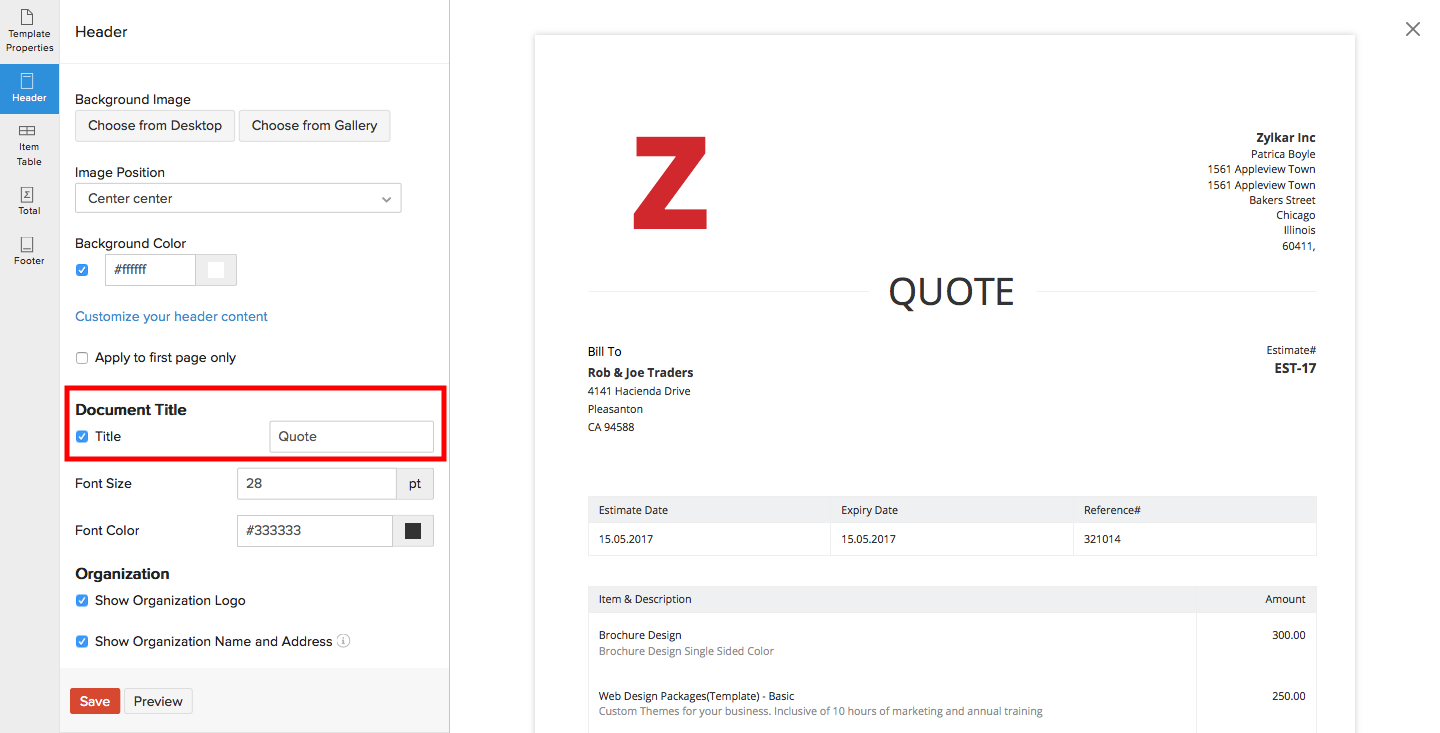 Rename Estimate Title FAQ Zoho Invoice - Invoice vs quote