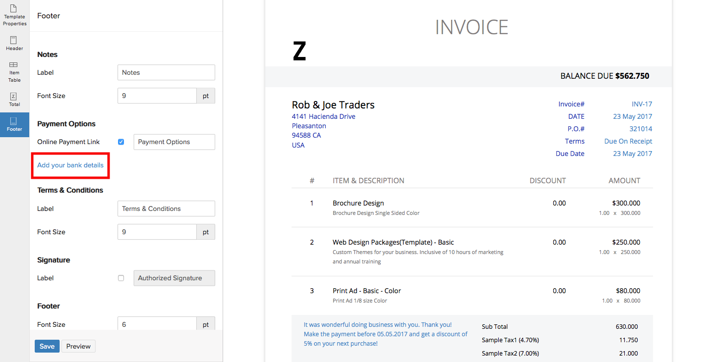 Add Bank Details To Invoice - Invoice with bank details