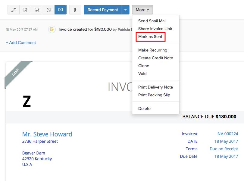 Draft Sent Invoice - Draft invoice