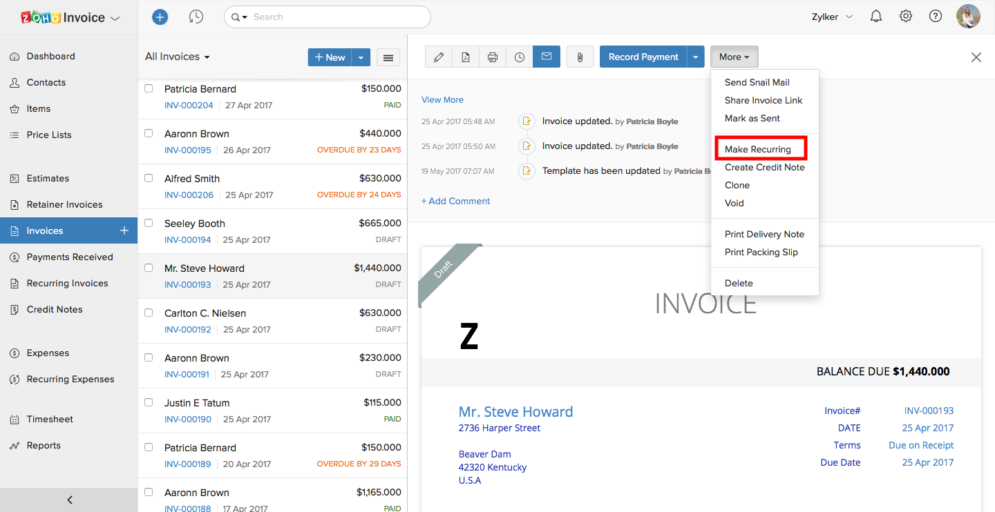 Make the invoice recurring