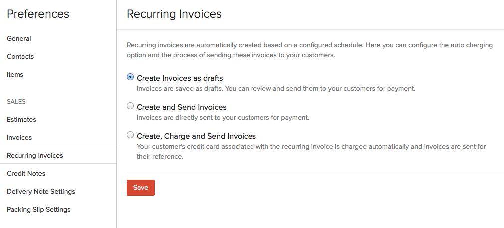 Recurring Invoice settings