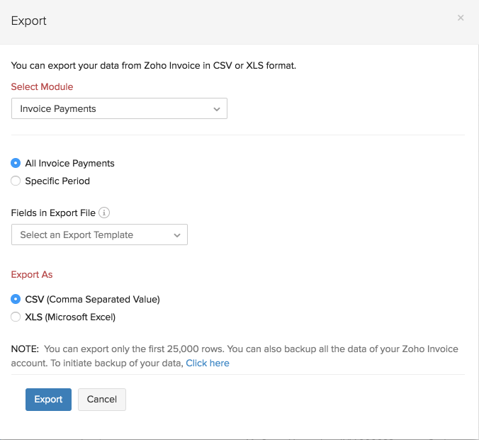 Importing/Exporting data into Zoho Invoice
