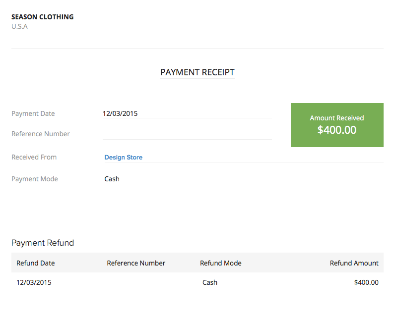 Refund Excess Payment – Advance Payment Receipt